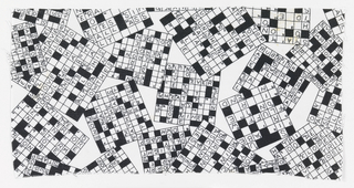 Partly filled in crossword puzzles.