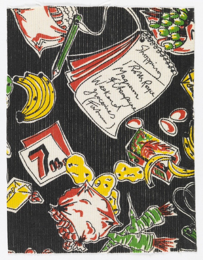 Grocery items and fanciful shopping list in bright colors on black.