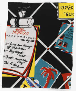 Souvenirs from Hotel Negresco in bright colors on black.