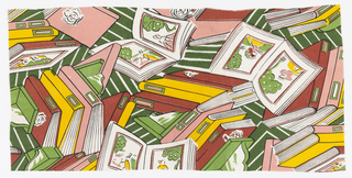 Assemblage of open and closed books in greens, pinks and yellow on white.