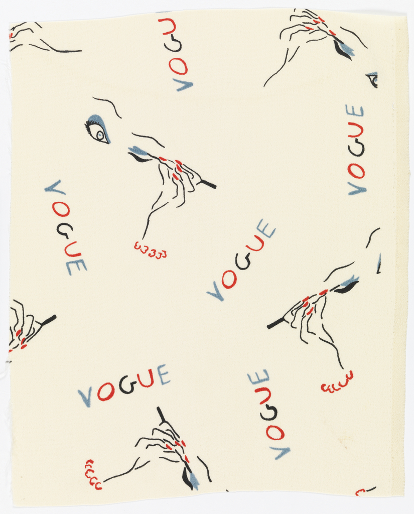 Woman's hand applying eye make-up and the word VOGUE in red, black and blue on white.