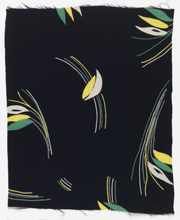 Floral shapes and curving lines in yellow, white and green on black.
