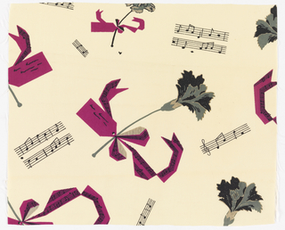 Ribbon-tied carnations and bars of music in fuchsia, black and gray on cream.