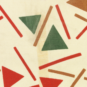 Triangles and bars in red, green and rust on cream background.