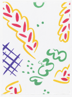 Squiggles, dots and lines arranged to form patterm. In bright colors on a white background (after Matisse).