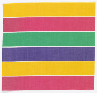 Bands of bright color; yellow, pink, greem and lavender on white.