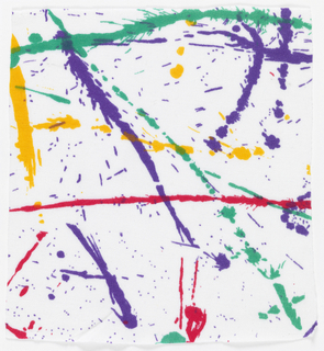 Paint-dripped lines of purple, yellow, red, and green on white.