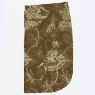 Brown damask with brocading in gold and silver metallic thread and orange silk. The brocaded pattern has allegorical figures and exotic birds and flowers.