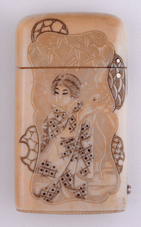 Oblong, upper corners rounded, featuring carved figure of geisha wearing patterned kimono of small squares and dots, holding small platter with fish on top. She is set against stylized reserve panel of bamboo trees, behind which are four smaller, variously patterned, fan-like elements, one on left, one on upper left corner, and two on right. Reverse features geisha wearing patterned kimono with star-like pattern, set against stylized reserve panel of plum blossoms, behind which are variously patterned elements, one leaf-like on left, two fan-like on right and bottom. Lid hinged on side. Striker carved into box bottom.