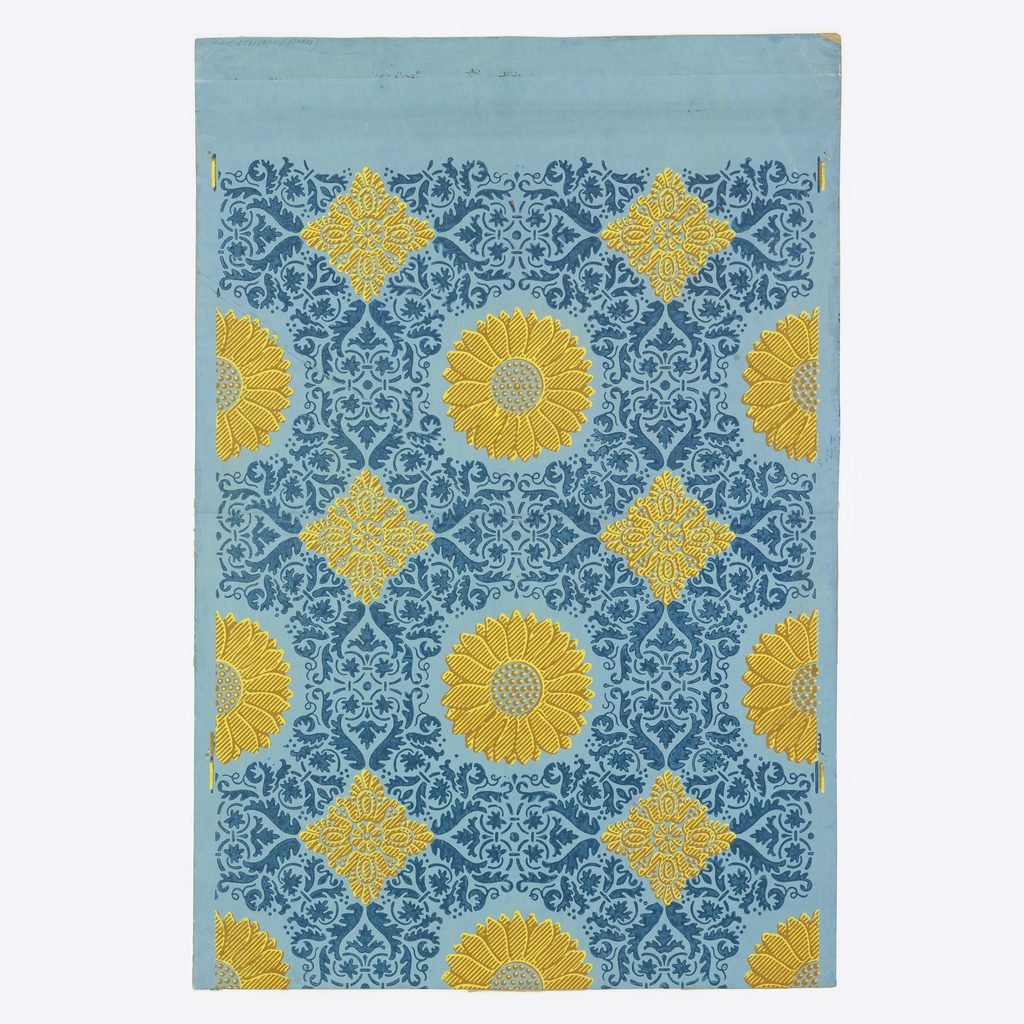 Vertical rectangle; the end of a roll composed of joined sheets. Fleurons and squares, brown and yellow, in alternating rows, with remainder of background covered by a foliate arabesque. The printed motifs simulate a textile weave and are printed slightly out of register.
