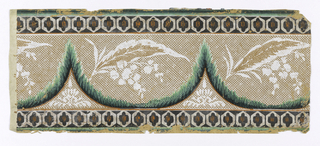 "Border: simulation of lace drapery. On brown ground, white ""lace"" festoons with flowers, green scallops between black edge-lines, green edge lines and six-sided white figures with orange dots."