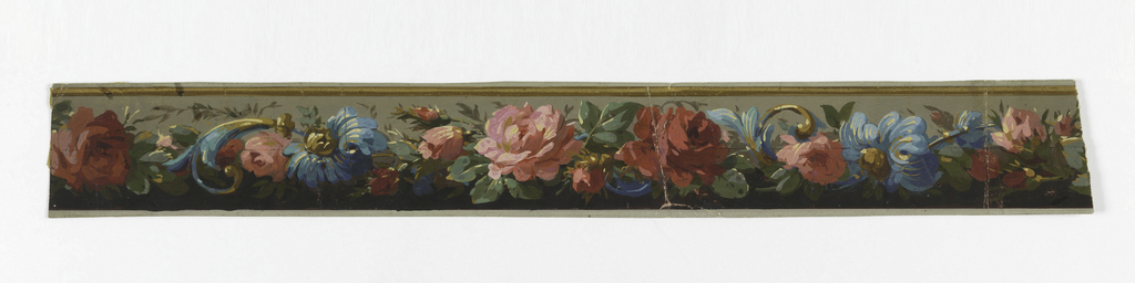 Wide central band of dense flowers with scrollwork. Below the floral band is a background of black, above the band is a background of gray.