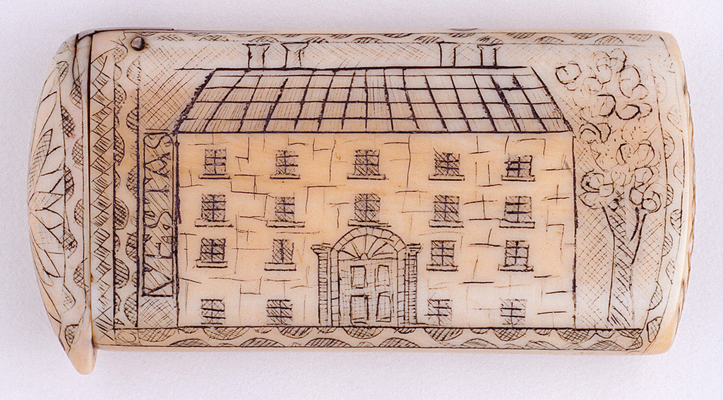 "Oblong, curved lid and bottom, featuring engraved decoration, situated horizontally on case body, of Georgian style house, with four chimneys, four rows of windows, front door flanked by classical columns and fanlight above, a tree on right side of house, on left side of house ""Vestas"" is inscribed (to be read if case is turned upright), all is framed by decorative border. Reverse features engraved decoration, situated vertically on case body, of flower bouquet in vase on stand. Top of lid, located to left of house, features engraved flower surrounded by decorative border, thumb catch protrudes slightly over box edge, hinged on side. Striker on box bottom carved into ivory with hatch marks."