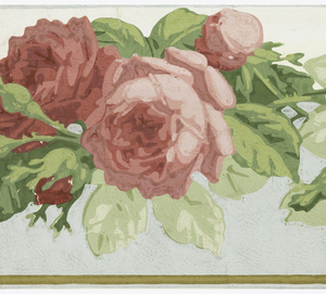 Wide central band of red roses with green foliage. Background below the floral band is green. Printed on white satin ground.