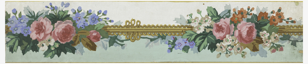 Central band of fancy gimp with clusters of flowers at intervals. Narrow bands of yellow ocher along either edge. Below the gimp the background is printed pastel green. Above the gimp is the white ground.