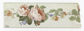 Two big roses with stems and tiny flowers trailing off in continuous line; Gray bands along either edge. Printed on white satin ground.