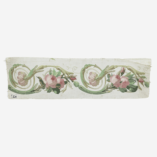 Pink rosebuds with stems forming regularly running scrolls sheathed in acanthus foliage. Printed in pink, green and tan on white ground.