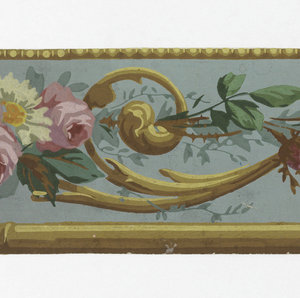 a) On taupe ground, daisies, pink roses, joined by gold scrollwork and trailing stems; gold banding above, gold bamboo strip below; b) Same, on grayed turquoise ground.