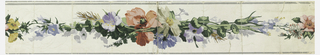Central motif of continuous trailing multi-colored flowers and wheat. Narrow gray bands along either edge. Printed on white ground.