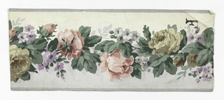 Central band of pastel flowers. Narrow gray bands along edges. Printed on white ground.