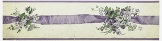 Wide central motif of continuous ribbon, interrupted by clusters of tiny  flowers with green foliage. Narrow bands of ribbon color along either edge. a) Printed in purple and green on white satin ground; b) printed in green and red on white satin ground.