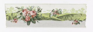 Central band of twisted green ribbon intertwined with pink roses. Above this band is the white ground color; below, the background is gray.
