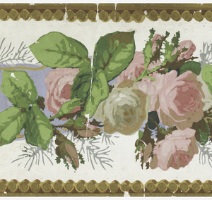 a) Two strips of border printed side by side on one length; crumpled blue ribbon with pink roses entwined; b) Same.