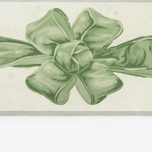 Two green ribbons tied in four-loop bow knot. Narrow gray bands along edges. Printed in green and gray on white ground.