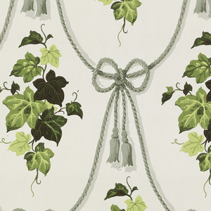 Clusters of green ivy between swags of mossy green rope on an ivory ground.