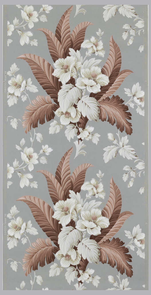 White and tan flowers with pink centers and maroon and pink leaves on a grey ground.