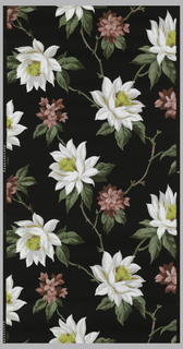 White and grey waterlilies with gold centers and green leaves with red flowers on a black ground.