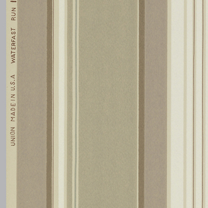 Veritcal stripe of shades of brown with cream on a beige ground.