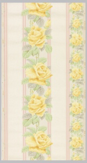Floral stripe with yellow roses and green and grey leaves between pink stripes and wide liquid mica type stripes on a cream ground.