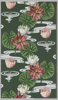 White and grey lilies and red and pink waterlilies with yellow centers with large green leaves and metallic silver water on a dark green ground.