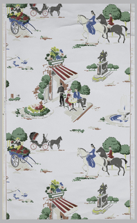 Scenes of monuments, people at a cafe, a flower cart, and a horse and buggy. Printed in yellow, white, pink, green, and grey on a metallic silver ground.