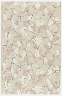 Marbleized pattern of pink, white, and green on a pink ground.