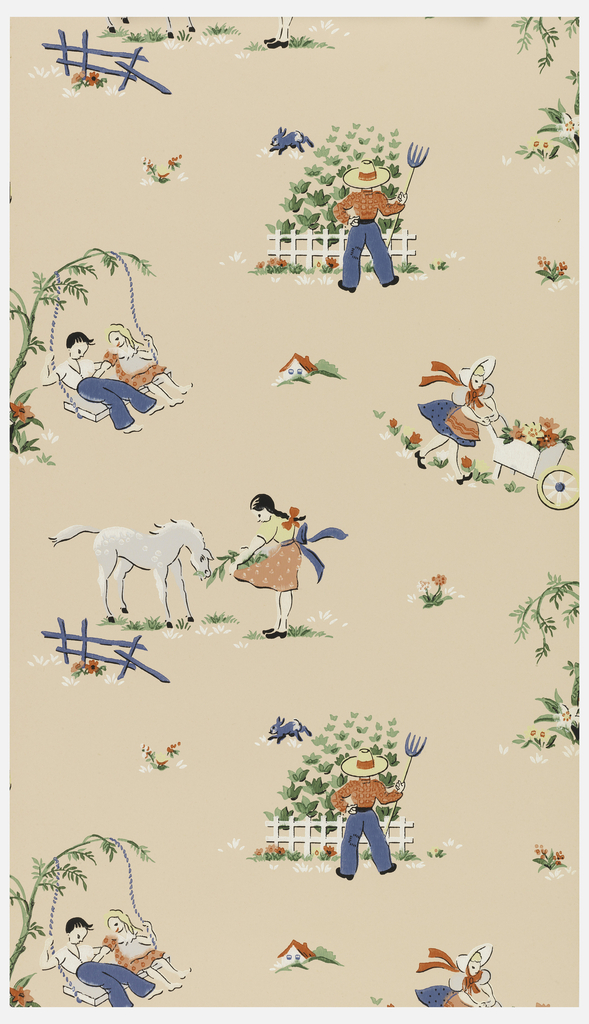 Country scenes in red, blue, green, pink and white of a girl with a horse, a boy with a pitchfork, and a boy and a girl on a porch swing on a pink ground.