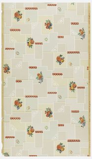 Kitchen paper of green, grey and tan bricks with white as the background with red and yellow fruit, colored geometric shapes, and white flowers on an ungrounded paper.