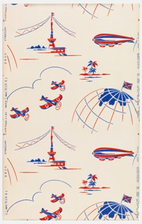 Children's paper with travel motifs including planes, blimps, a globe, and a tower in red and blue on a white ground.