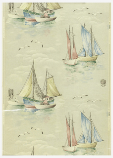 Bathroom paper. Blue, yellow, and pink sailboats with white seagulls and clouds on a cream ground.