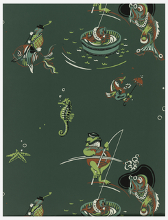 Bathroom paper. Lime green fish wearing red outfits with white fishing poles or wearing glasses on a dark green ground.
