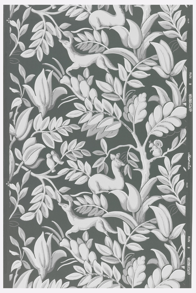 Grisaille deer and foliage on a dark green-grey ground.