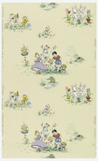 Children's paper with multiple landscape vignettes, containing scenes of a boy and girl with a dog and cat on trellis, birdhouse; animated animals such as white rabbits dancing amongst potted flowers, a yellow duck with chick and goose all wearing hats, and a green frog playing the flute. Printed on a cream ground.