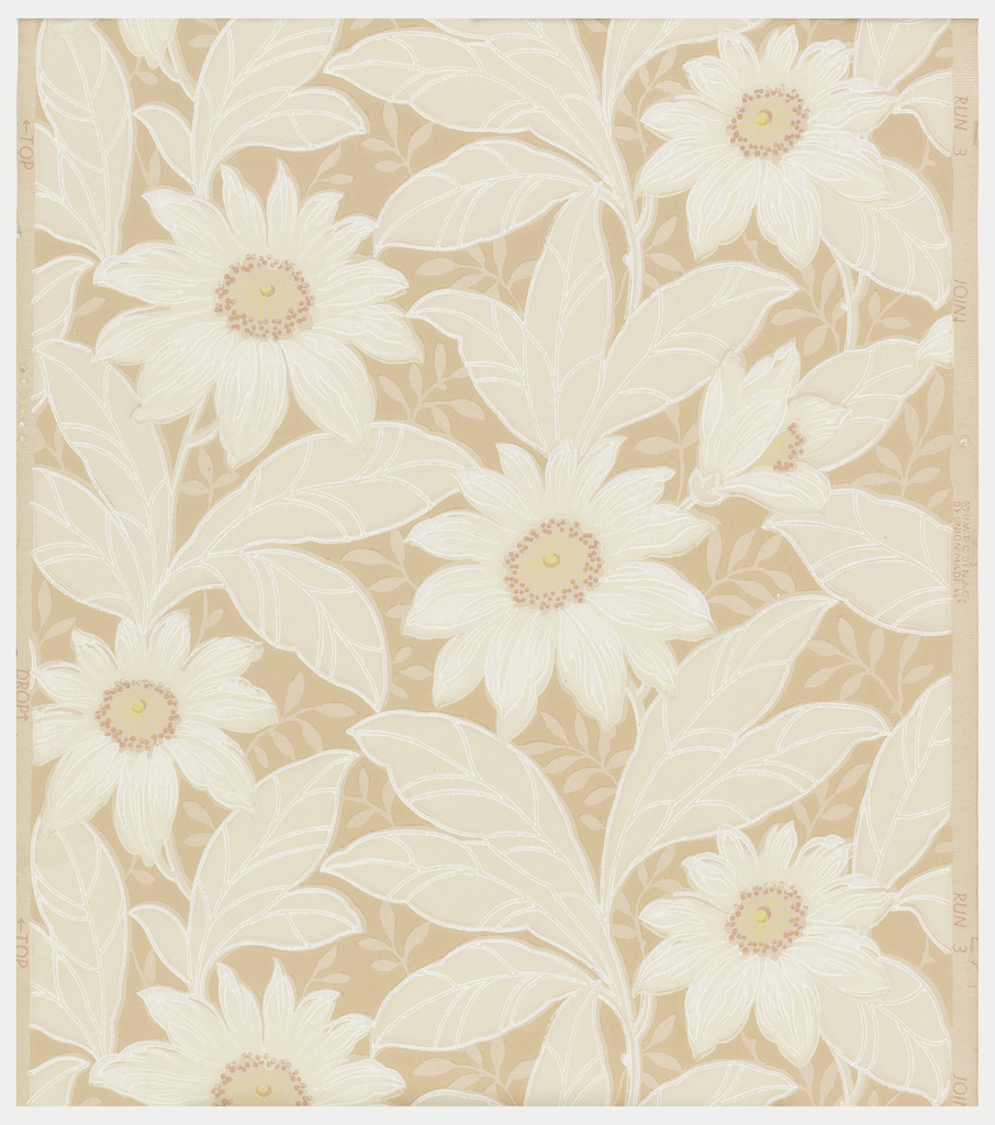 White flowers with metallic silver and pink centers on a dark pink background printed on a pale pink ground.