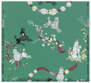 Black and white poodles jumping through pink hoops and red and white flowers on a dark green ground.