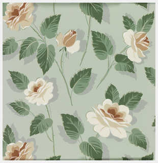 Peach, coral and white roses with green and grey leaves with metallic gold on a pale green ground.