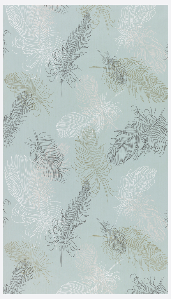 Thin feathers of white, pink, grey, and metallic gold on an aqua ground.
