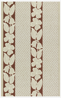 Vertical floral stripe of beige and white on maroon background and stripe of grey diagonal lines on a beige ground.