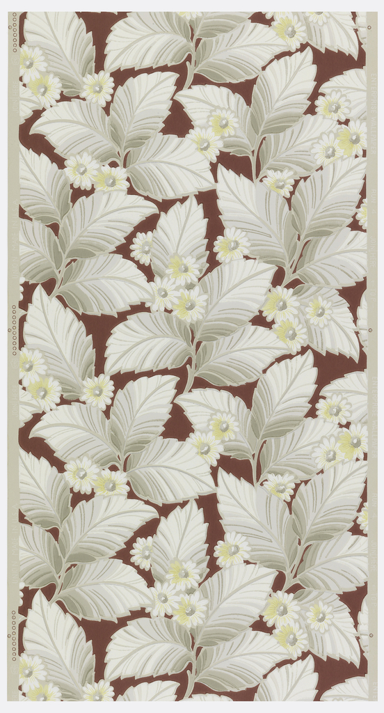 Maroon background with grey leaves and yellow and white daisies on a grey-beige ground.