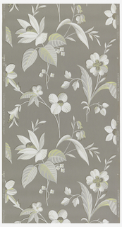 White and taupe abstract flowers with metallic gold on a grey ground.